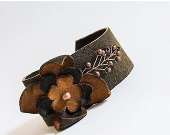 50% OFF SALE Floral women's leather rustic wide bracelet Statement stylish Designer jewelry