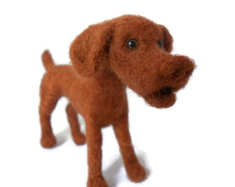 Custom Vizsla - needle felted plushie soft sculpture dog sculpture - gundog art
