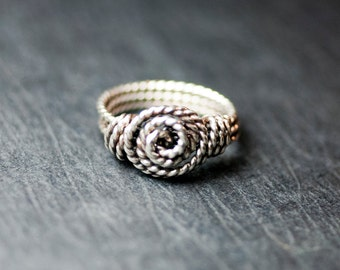 "Sterling Silver Twist Rosette Ring - ""Orion"""