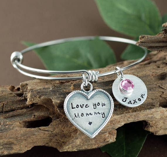 Mother's Charm Bracelet, Personalized Bracelet for Mom, Love You Mommy, Name Bracelet, Heart Bracelet, Kids Name Bracelet, Gift for Mom