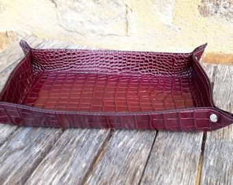 Burgundy leather rectangular dish