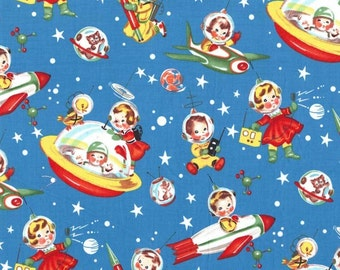 Retro Rocket Rascals in Multi Michael Miller Fabric, Choose your cut
