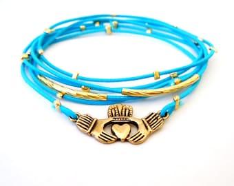 Irish Claddagh Gold Bracelet, Blue Bracelet Set, Gold Claddagh Charm, Gold Bracelet, Irish Jewelry