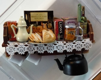 Dollhouse Miniature accessory in twelfth scale or 1:12 scale.  Filled pub shelf with all accessories shown.    Item #D506.