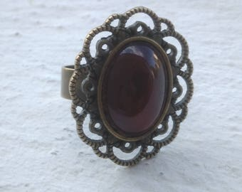 Deep red carnelian ring