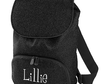 Monogram Black Glitter Sports Backpack with Black Trim