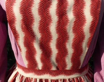 Handmade rose red and cream print pinner apron, pockets