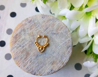 Goldfilled Septum Ring, fake Septum Ring, Handmade Septum Ring, Septum Cuff, Septum Clip, Tragus, Helix, Cartilage Earrings. Design no. FG6