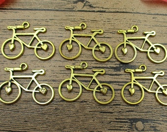 12 Gold-plated Bicycle Charms,Double Sided-RS139