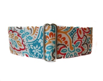 Coral Pink Martingale Collar, 1.5 Inch Martingale Collar, Paisley Martingale Collar, Paisley Dog Collar, Whippet Collar, Coral and Turquoise