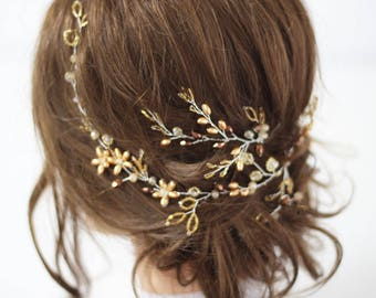 Gold leaf hair piece Bridal hair vine long Wedding hair pin Flower hairvine Golden Wedding hairpiece Bridal headpiece