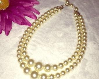 Vintage Muli Strand Fashion Pearl Necklace