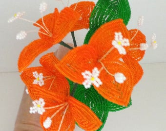 French Beaded Flowers Orange Bougainvillea