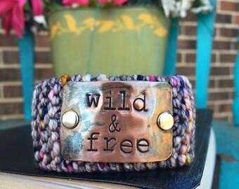 Christian Bracelet, Custom Hand Stamped Cuff Bracelet, Inspirational Gift for Women, Knit Bracelet, Wrist Tattoo Cover
