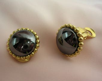 Small earrings clips with natural gemstone - various choices