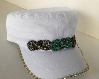 Womens Hats, Cadet Hat, Hat, Military Hat, Womens Hat, Military Cadet Hat, Bling Hat, White Hats