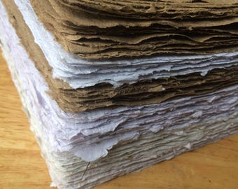 LARGE sizes, 10 sheets of handmade paper, 5x9, 5x10, 8x10, 8.5x11, 11x17, recycled paper, eco friendly, decorative paper, homemade paper