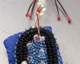 Blue Shard Necklace with Bead Embroidery Swarovski Crystals