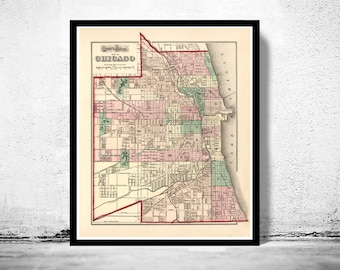 Old vintage map of Chicago 1874