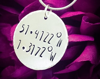 Personalised Coordinates Hand Stamped Necklace. Custom Longitude Latitude Necklace, Coordinates Jewelry, Custom Coordiantes Necklace