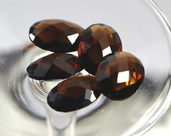 Lot of 5 Pcs, 20x15 mm, Oval Faceted Briolet, Smokey Color Quartz, Checkerboard Loose Gemstone, 20x15mm, 20x15