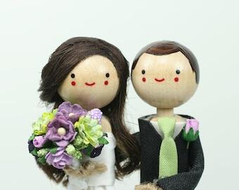 Custom Wedding Cake Topper with 1x DIMENSIONAL HAIR and 1x CUSTOM Clothing
