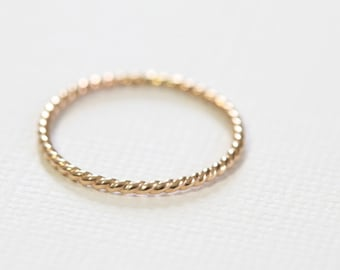 twist ring, rope ring, stackable ring, staking ring, textured ring, skinny ring, dainty ring - yellow gold filled twisted ring