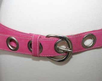 Vintage 90s Silver Tone Metal Mauve Pink Suede Leather Belt Grommets Club Kid Rave Festial Wide