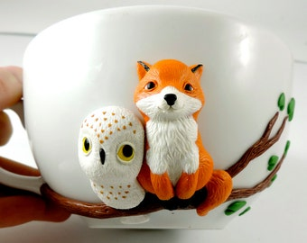Fox owl mug, cute mug, polymer clay, red fox, owl mug, love