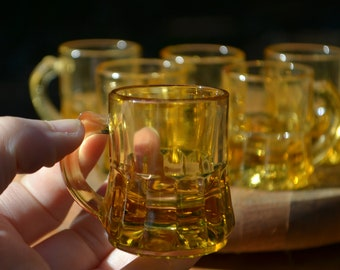 Set of 6 Vintage Amber Glass Shot Glasses by Federal Glass Co.