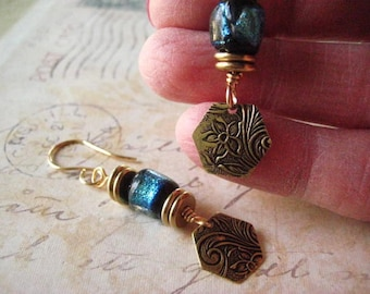Basha Bead Earrings, Ancient Glass, Artisan Lampwork, Hand Hammered Design, Boho Beads, Lampwork Glass, Turquoise Glass, candies64