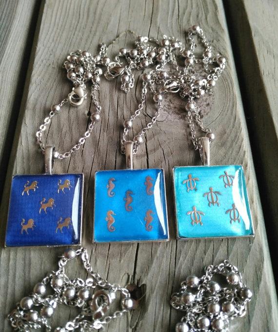 Square crystal cabuchon necklace, unicorns necklace, deers necklace, sea horses necklace, turtles necklace