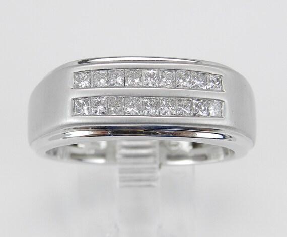 Mens Princess Cut Diamond Wedding Ring Anniversary Band White Gold Size 10.5