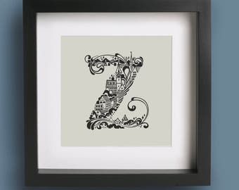 Zurich City Mini Print, Alphabet Wall Art, Hand Drawn Type Typography Illustration Print, City Skyline Office Decor Screenprint