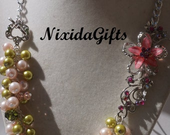 Victorian Pink and Green Flower Necklace Set