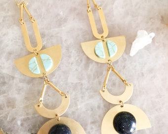 Brass Boho Turquoise + Blue Goldstone Shoulder Duster Earrings