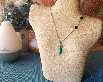 Turquoise Pendant Lava Rock Bead Aromatherapy Necklace