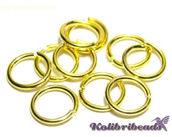 100x Brass Jump Rings 8 mm - Gold - Open Jump Rings