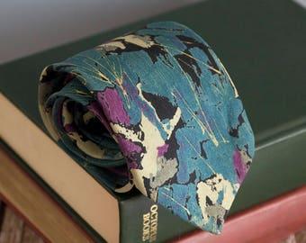 Vintage silk tie, mak uno mens necktie, silk neck tie, floral paisley cravat cravatte / turquoise yallow purple