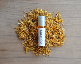 All Natural Perfume Oil with Botanicals, Tangerine with Calendula Petals