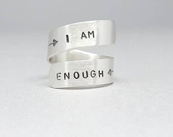 Sterling silver - adjustable - ring - I am enough - self esteem - arrow- cross - butterfly - positive self - self worth - love yourself