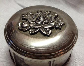 Vintage Silver Jewelry Dish / Tinker Box