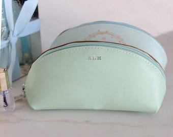Personalised Real Leather Cosmetic Bag