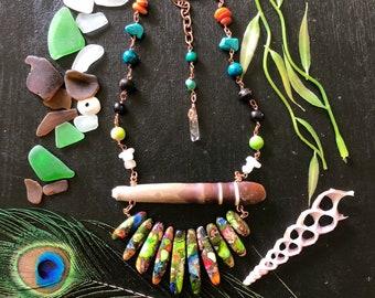 Sea and stone jungle gypsy sea urchin gemstoned necklace