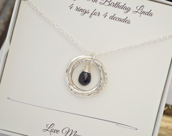 Sapphire birthstone necklace, Four sisters necklaces, 40th Birthday gift for wife, Best friend gift, 4th Anniversary gift, Sister jewelry,