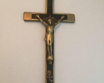 Vintage Nuns Pectoral Ebony Crucifix Handmade Vintage Priest Cross Scull Crossbones