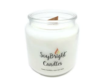 SoyBright™ Cedar Leaf and Lavender All Natural Soy Wax Apothecary Jar Candle | Wooden Wick | Hand Poured | More Scents Available - 16 oz