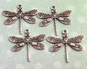 Small Dragonfly Charm, Trinity Brass, Antique Silver, 4 Pc. AS252