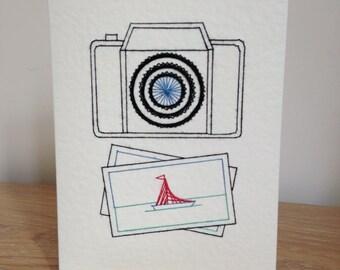 Camera Card Hand Stitched