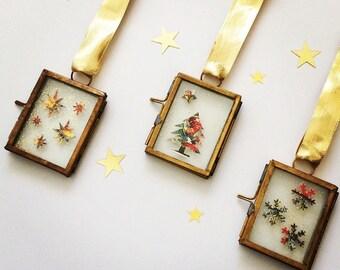 Vintage Christmas Decorations - Christmas Tree Decorations - Vintage Christmas - Glass Christmas Ornaments - Christmas Stamps - Xmas Decor